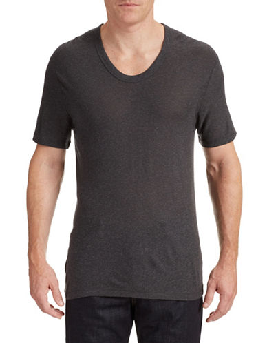 T By Alexander Wang Low Neck Silk Blend T-Shirt-CHARCOAL-Medium