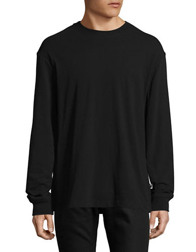 Alexander Wang High-Twist Long Sleeve Jersey Tee-BLACK-X-Small
