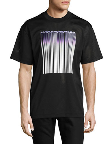 Alexander Wang Athletic Mesh Logo T-Shirt-BLACK-Medium
