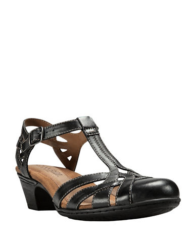 Rockport Cobb Hill Round Toe Leather T-Strap Sandals-BLACK-6.5