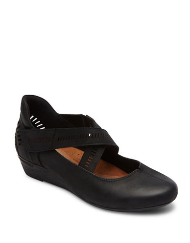 Rockport Cobb Hill Janet Casual Wedges-BLACK-7.5