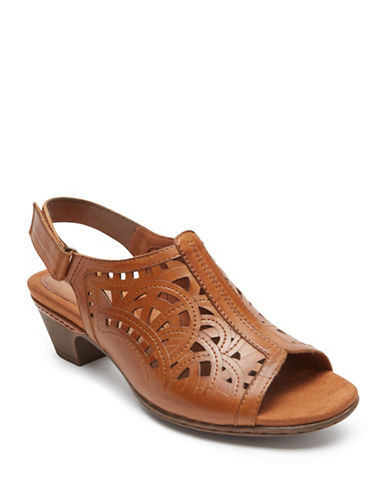 Rockport Cobb Hill Abbott Leather Slingback Sandals-TAN-6.5