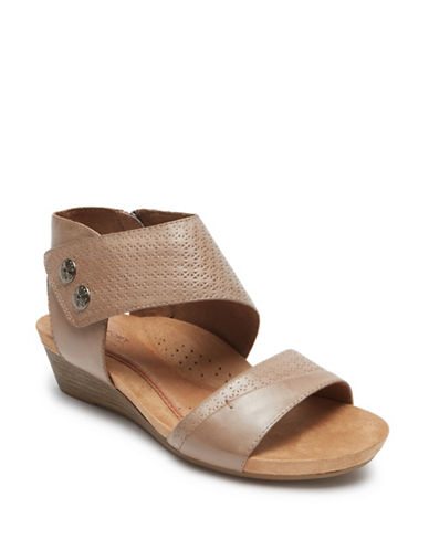 Rockport Cobb Hill Hollywood Embossed Sandals-KHAKI-8
