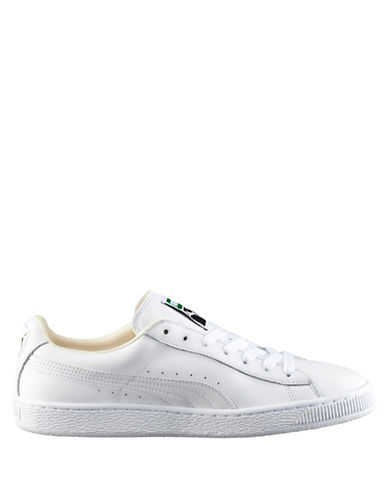 Puma Mens Basket Classic Sneakers-WHITE-10.5