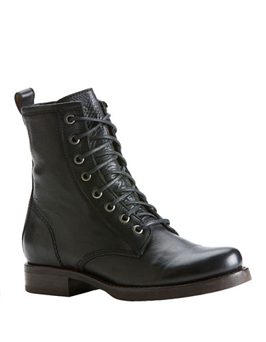 Frye Veronica Combat Boot-SOLID BLACK-5.5