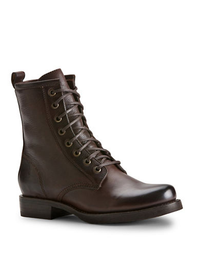 Frye Veronica Combat Boot-DARK BROWN-5.5