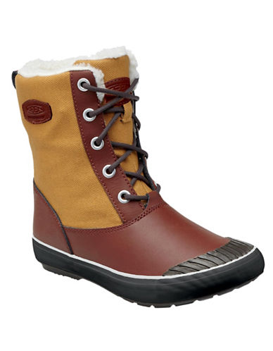 Keen BLVD Elsa Leather-Blend Winter Boots-BROWN/TAN-6.5