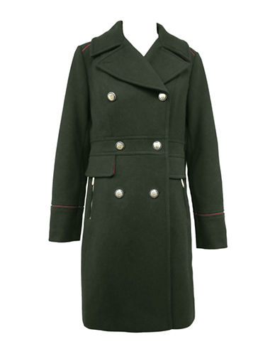 Vince Camuto The Coat Edit Double-Breasted Wool-Blend Coat-GREEN-Medium
