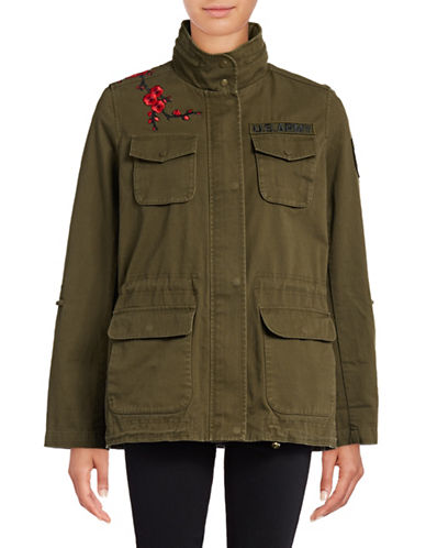 Vince Camuto Embroidered Anorak-GREEN-Large