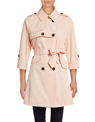 Vince Camuto Plus Roll-Sleeve Trench Coat-PINK-1X
