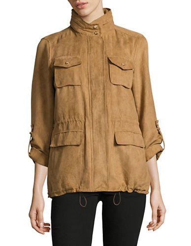 Vince Camuto Faux Suede Anorak-CAMEL-Small
