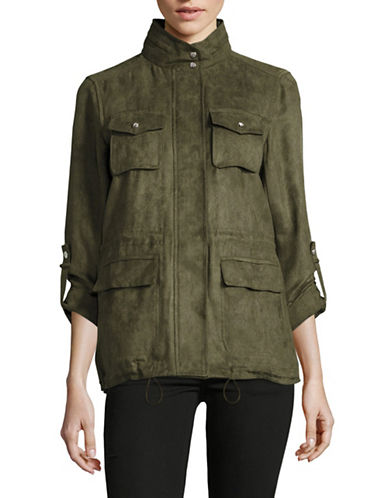 Vince Camuto Faux Suede Anorak-PINE-Small