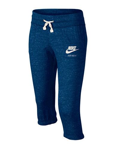 Nike Gym Jersey Capri Pants-BLUE-X-Small