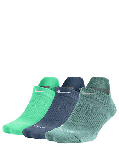 Nike 3-Pack Perfect Cushion No-Show Socks-GREEN-Medium