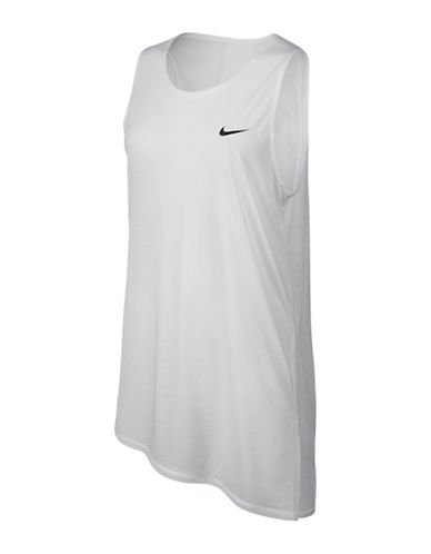 Nike Asymmetric Breathe Scoop Neck Top-WHITE-Large