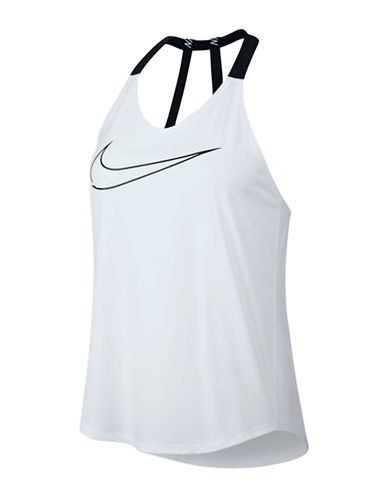 Nike Breathe Elastka Halter Swoosh Tank Top-WHITE-Large
