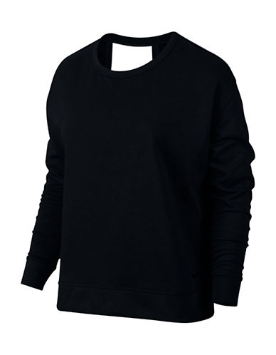 Nike Open Back Long Sleeve Top-BLACK-X-Large 88958500_BLACK_X-Large