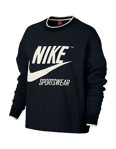 Nike Sportswear Crew Top-BLACK-Large