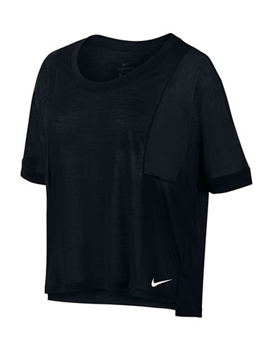 Nike Hi-Lo Short Sleeve Top-BLACK-Large 88958434_BLACK_Large