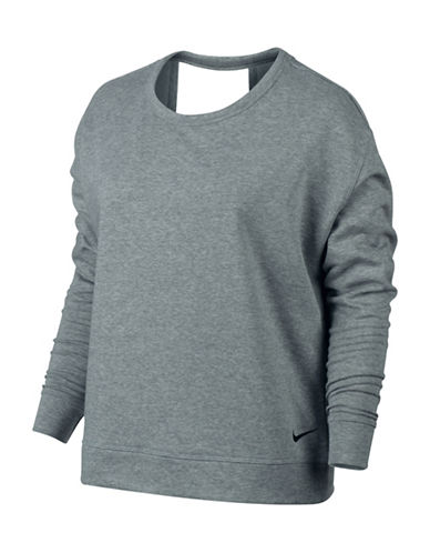 Nike Open Back Long Sleeve Top-GREY-Medium 88958503_GREY_Medium