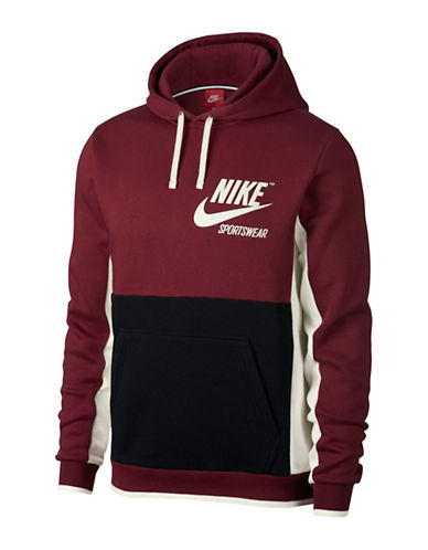 Nike Colourblock Hoodie-RED-X-Large 89710156_RED_X-Large