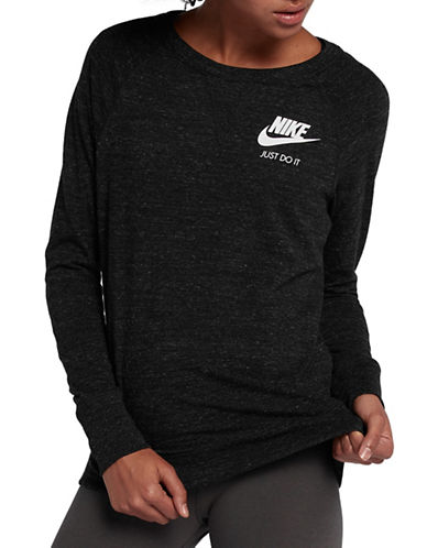 Nike Womens Sportswear Crew Top-GREY-Medium