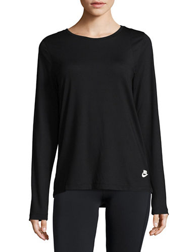 Nike New Essential Long-Sleeve Top-BLACK-X-Small