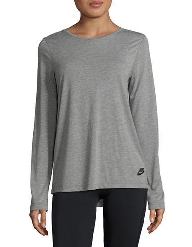 Nike New Essential Long-Sleeve Top-GREY-Large