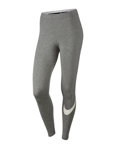 Nike Logo Club Leggings-DARK GREY HEATHER-Large