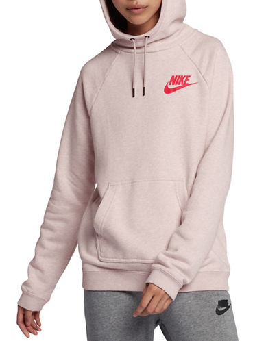 Nike Womens Sportswear Rally Hoodie-PINK-Small
