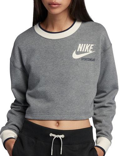 Nike Reversible Sportswear Fleece Crop Top-CARBON HEATHER-Large 90019024_CARBON HEATHER_Large