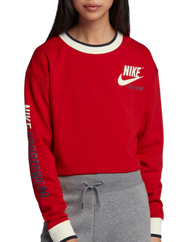 Nike Long Sleeve Sportswear Crew-RED-X-Large