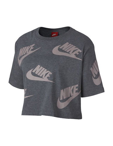 Nike Sportswear Cotton Top-GREY-Small