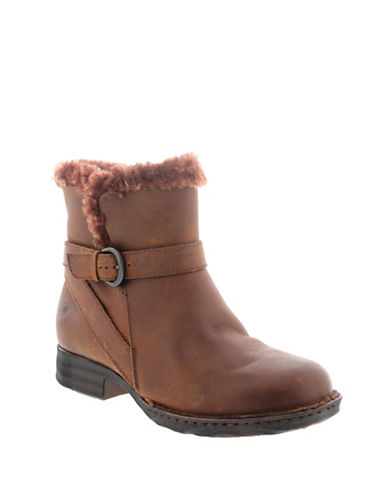 Born Kaia Leather Shearling Booties-BROWN-7.5