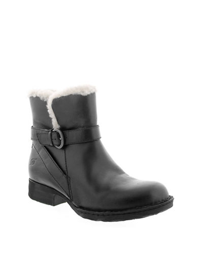 Born Kaia Leather Shearling Booties-BLACK-7.5