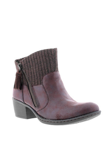 B.O.C. Born Bendell Suede Booties-DARK BROWN-9.5