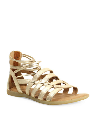Born Angeles Leather Caged Sandals-BRONZE-5