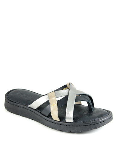 Born Buta Leather Slide Sandals-BLACK-6
