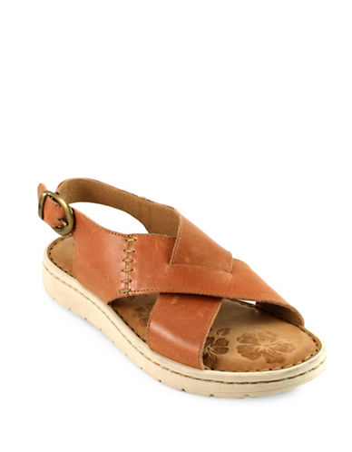 Born Balanga Crisscross Strap Leather Sandals-LIGHT BROWN-7
