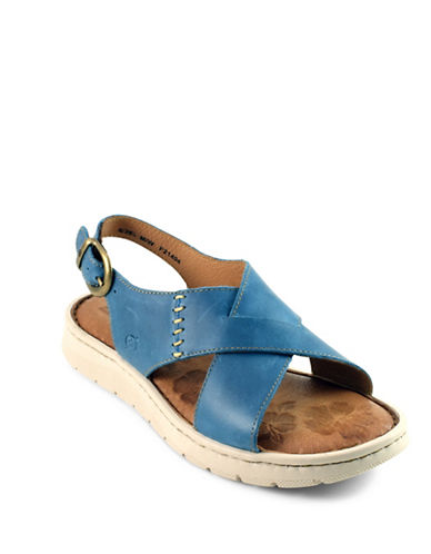 Born Balanga Crisscross Strap Leather Sandals-BLUE-9