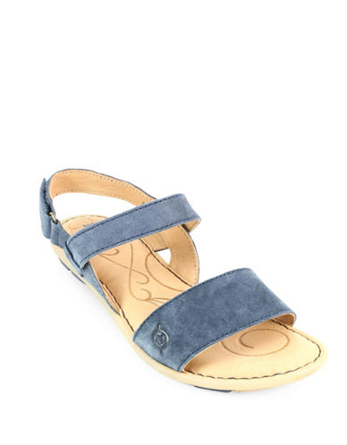Born Tagum Distressed Leather Sandals-DENIM-9