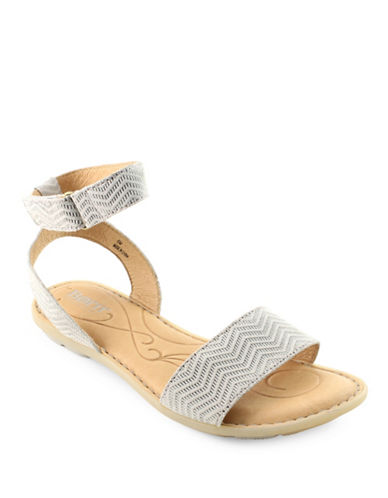 Born Tegal Textured Suede Sandals-GREY-9