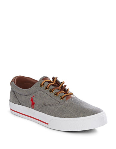 Polo Ralph Lauren Vaughn Chambray and Leather Sneakers-GREY-9