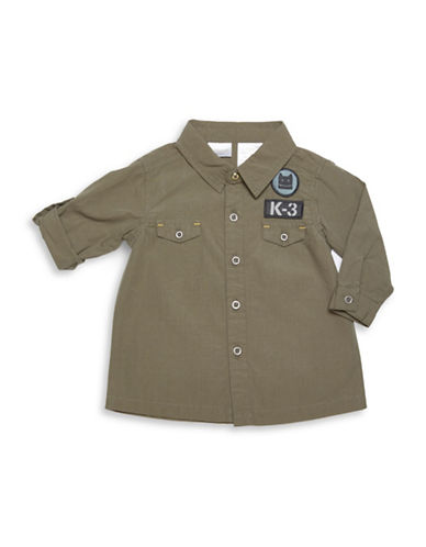 Kardashian Kids Woven Shirt with Patches-GREEN-3 Months