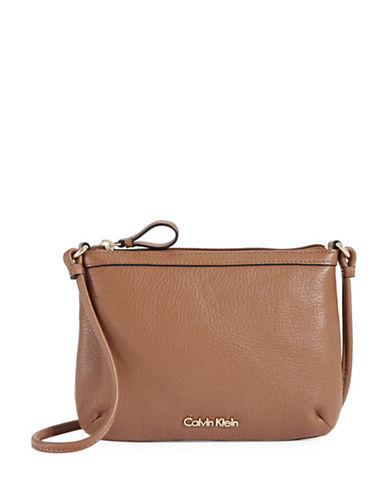 Calvin Klein Textured Leather Crossbody-BROWN-One Size