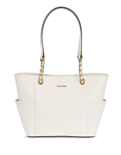 Calvin Klein Key Items Leather Tote-WHITE-One Size