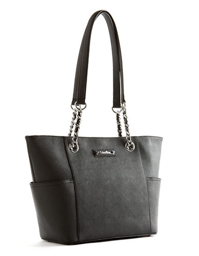 Calvin Klein Key Items Leather Tote-BLACK-One Size