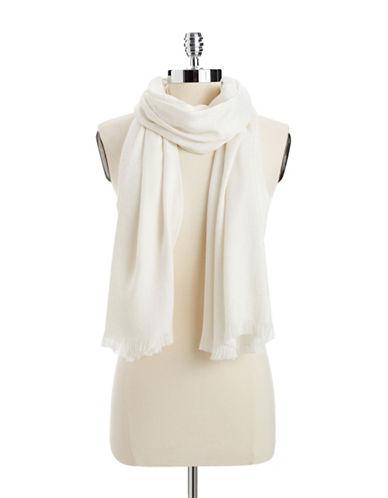 Calvin Klein Logo Jacquard Pashmina-WHITE-One Size