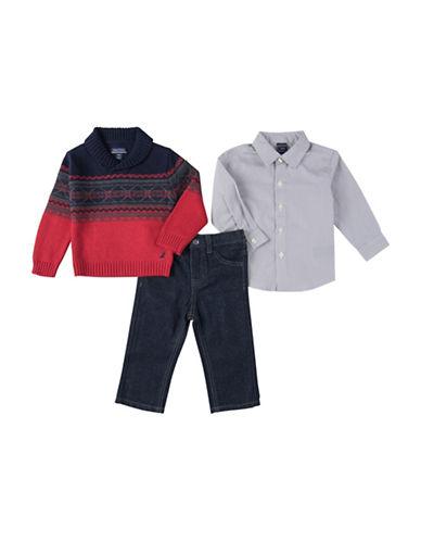 Nautica Three-Piece Fairisle Sweater  Shirt  and Jeans Set-RED-18 Months