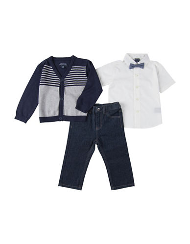 Nautica Three-Piece Cardigan Sweater  Shirt  and Jeans Set-BLUE-18 Months